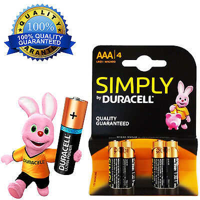 Duracell AAA Alkaline Batteries LR03/MN2400 4 Non Rechargeable 1.5 V UK Free P&P