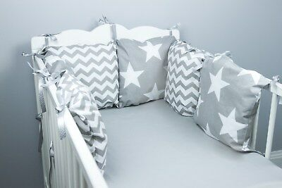 COT BED PILLOW BUMPER made form 6 cushions GREY PINK BABY BLUE STARS CHEVRON