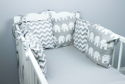 PILLOW BUMPER made form 6 cushions for cot/ cot  bed GREY ELEPHANTS CHEVRON