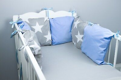 PILLOW BUMPER made form 6 cushions for cot/ cot  bed  BIG GREY STARS  BABY BLUE
