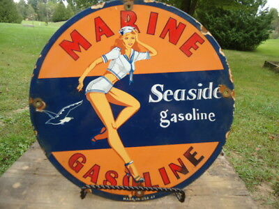 Dated 1947 Marine Seaside Gasoline Porcelain Gas Pump Sign