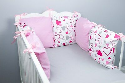 PILLOW BUMPER made form 6 cushions for cot/ cot  bed BABY PINK HEARTS GIRL SET