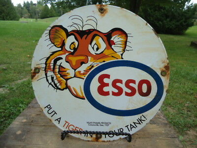 Dated 1957 Esso Gasoline Porcelain Gas Pump Sign,put A Tiger In Your Tank