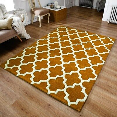 Modern Geometric Trellis Moroccan Grey  Carpet Contemporary Soft Wool  Rug White Rugs Rugs & Carpets