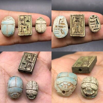 3 Circa 664-332Bc Ancient Egypt Glazed Faience Scarab Seal Amulet W/heiroglyphi