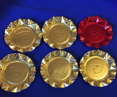 1960s Drewrys Beer Gold Red Ashtrays Lot Of 6
