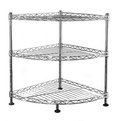 45x35x35cm Real Chrome Corner Wire Rack Metal Steel Kitchen Shelving Racks S247