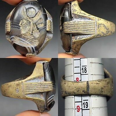 Antique Stunning Old Stone face  intaglio wonderful old bronze Ring