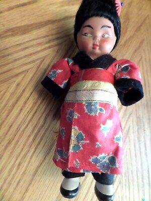 VINTAGE, ANTIQUE JAPANESE (ASIAN)  childs DOLL.6 3/4 in .with 2 hankies on back