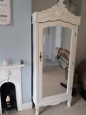 French Reproduction Armoire Wardrobe White Single Mirrored