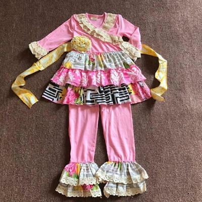 W-240 Girl's 2PC Fall  Pink Floral Outfit w/Ruffles Sizes 3T-7T (Free Shipping)