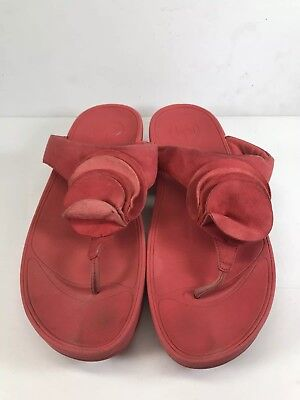 87f13f3ba Fitflop Yoko 293-258 Red Flower Rose Thong Sandal Wobble Board Women 43 US  sz