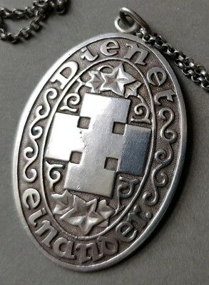 EARLY-20thc. GERMAN ARTS & CRAFTS STYLE OVAL SILVER HERALDIC PENDANT and CHAIN.