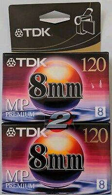 TDK MP Premium P6-120MPL2 8mm Video Cassette Tape 2-Pack Sealed Condition