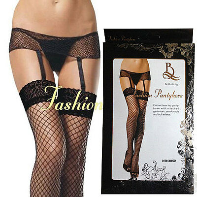 Black Fishnet  Lace Top Stockings with attached Suspender Belt Size 8 - 12 S M