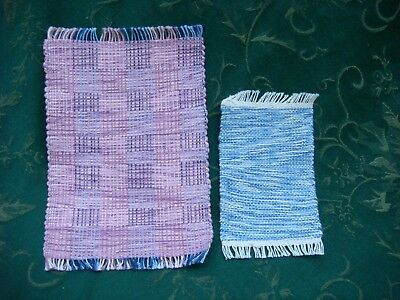 Lot of 2 1:12 miniature Pink and Blue rugs 5 x 7, 3 x 5 handwoven