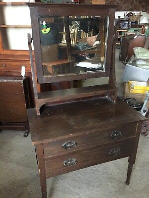 Vintage Small Edwardian Dressing Table Chest Drawers Mirror 12/9/C