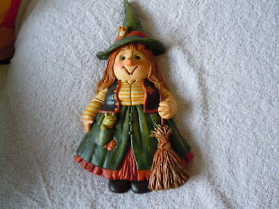 salt dough kitchen figure decorations, witch with broom, great condition