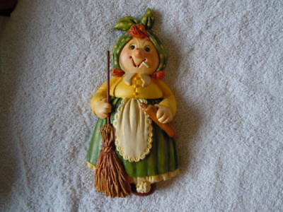 salt dough kitchen figure decorations, kitchen maid with broom, great condition