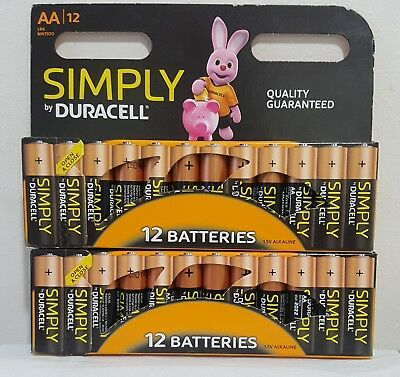 24x Duracell Simply AA Alkaline Batteries Economy Pack LR6 MN1500 Long Expiry