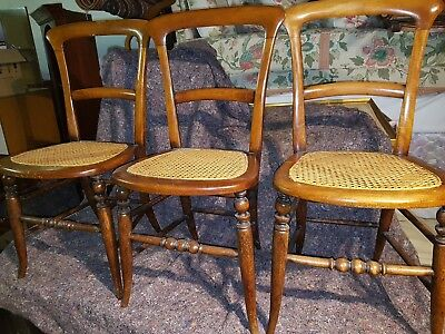 3 x ANTIQUE VINTAGE RATTAN SEAT CHAIRS - BEDROOM / OCCASIONAL CHAIRS