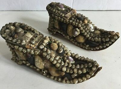Sailor's Shell Folk Art Circa 1800's Pair of Shoes Present Forget Me Not