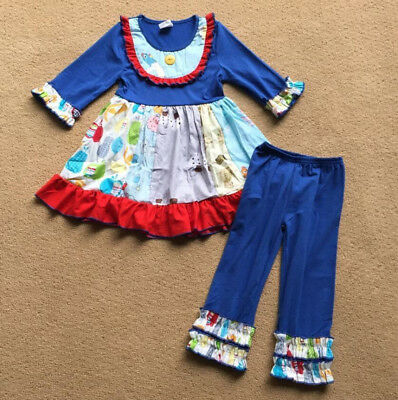 W-243 Girl's 2PC Blue and Red Outfit with Ruffles Size 3T and 4T (Free Shipping)