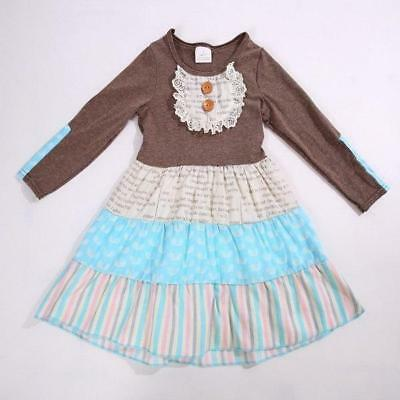 W-248 Girl's Brown w/Stripes Dress Sizes 3T and 4T (Free Shipping)