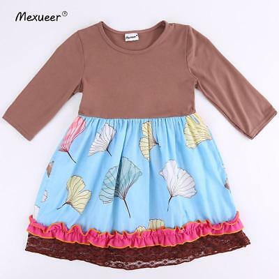 W-247 Girl's Brown w/Flowers Dress Sizes 3T and 4T (Free Shipping)
