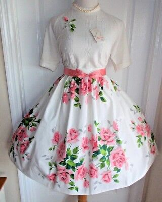 vintage 50s rose fabric super full skirt NOS sweater w/ applique pink grey ivory