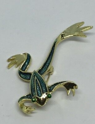 Gerry's Gold Tone & Green Leaping Jumping Frog Signed Brooch Pin Vintage