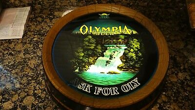 Olympia Vtg Beer Barrel Lighted Motion Sign Lamp Animated Waterfall NEW MOTOR !!