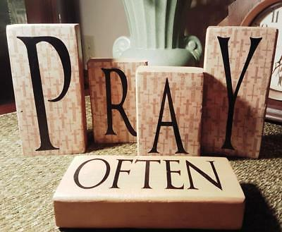 Pray Often, Wood Block Lettered Sign, Phrase, Create Your Design,  Display Decor