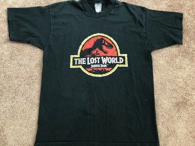 Vintage 1996 Jurassic Park The Lost Workd Black Tee Size Large