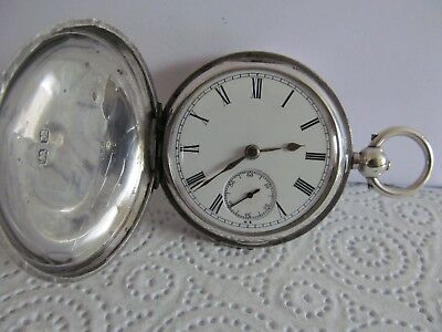 1895 pocket watch full hunter solid silver good condition and working
