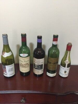 5 Old French Wine Bottles 1959 1964 1966 1969 1991
