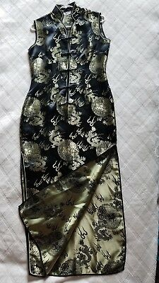 Black and Gold Dragon Brocade Cheongsam Qipao Chinese Dress Size 38 (US 4-6)