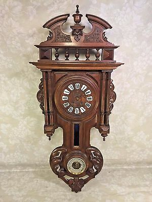 Antique Black Forest Clock w/ Barometer Rod Strike Beautiful Wood Case Running?