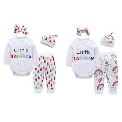 4pcs Newborn Baby Kids Boys Girls Infant Romper Pant Headband Hat Cotton Outfits