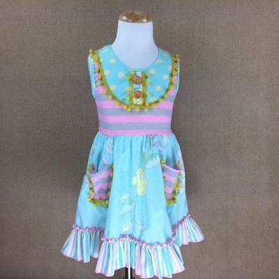 W-239 Girl's Pink and Green w/Flowers Dress  3T & 4T Only! (Free Shipping)