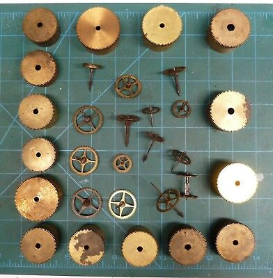 Job Lot Of Assorted French Clock Wheels And Barrels.