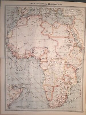 Antique Large Map c1906 Africa : Industries and Communications