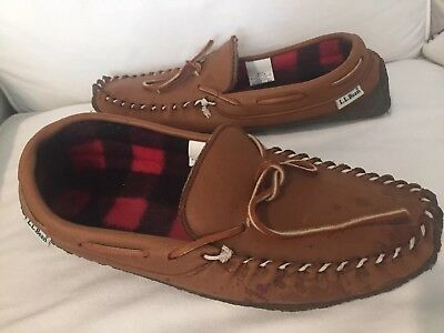 VINTAGE L L BEAN BUFFALO PLAID SLIPPERS Made In Canada 🇨🇦 LEATHER  Men SIZE 9