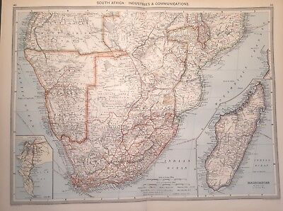 Antique Large Map c1906 South Africa : Industries and Communications
