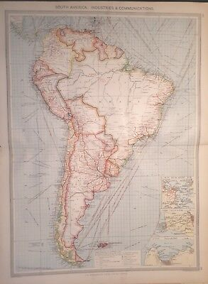 Antique Large Map c1906 South America : Industries and Communications