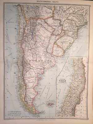 Antique Large Map c1906 South America : South Central Chile