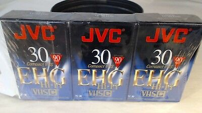 New 3 Pack JVC TC-30 EHG VHS 90 Minute Camcorder Tapes