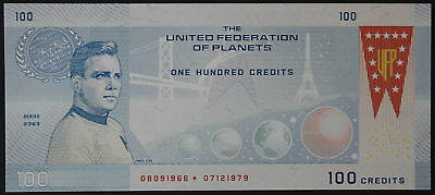 STAR TREK The United Federation of Planets - 100 CREDITS 2014 - FANTASY NOTE