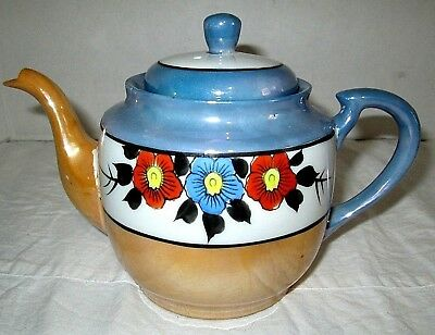Teapot  Made in Japan  Orange Luster Flower Blue White Tan