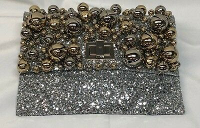 Anya Hindmarch Valorie Bells Glitter and Bells Evening Clutch